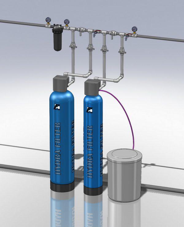 Водоподготовка для коттеджа #5. 1100 л/час (2-3 одновременно открытых крана) Растворенное железо до 2 мг/л